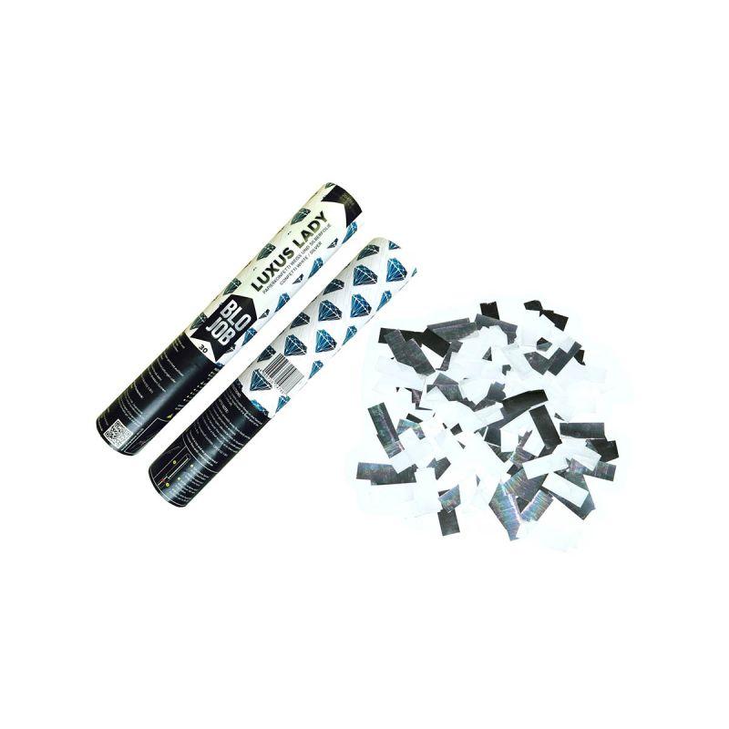Jetzt Luxuslady 30cm Papierflitter weiß & Metallicflitter silber ab 3.59€ bestellen