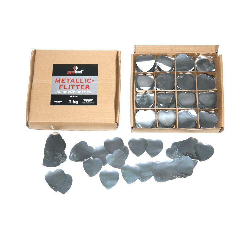 Jetzt Metallic Flitter - Silberne Herzen 1kg (Pappschachtel) ab 29.99€ bestellen