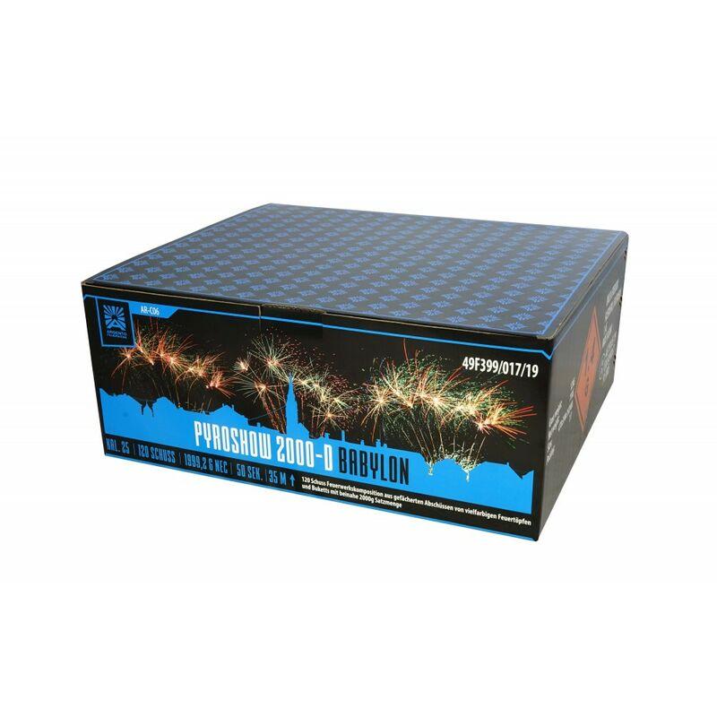 Jetzt Pyroshow 2000-D Babylon 120-Schuss-Feuerwerkverbund ab 109.99€ bestellen