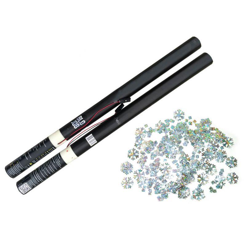 Jetzt Schlawine 80cm elektrisch (Black Label) Metallicflitter Silber mit Lasereffekt Schneeflocken & Eiskristalle ab 2.76€ bestellen