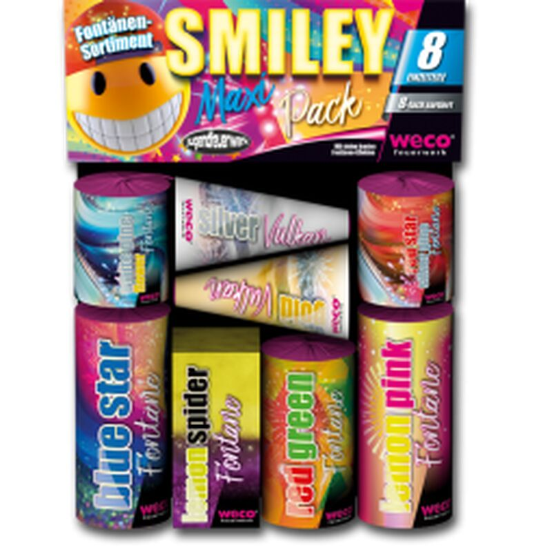 Jetzt Smiley Maxi Pack 8-teiliges Fontänen-Sortiment ab 7.64€ bestellen