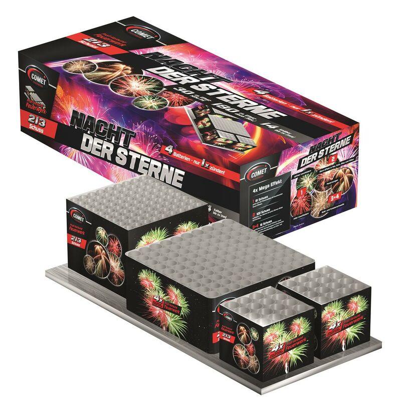 Jetzt Nacht der Sterne 213-Schuss-Feuerwerk-Batterie ab 16.99€ bestellen